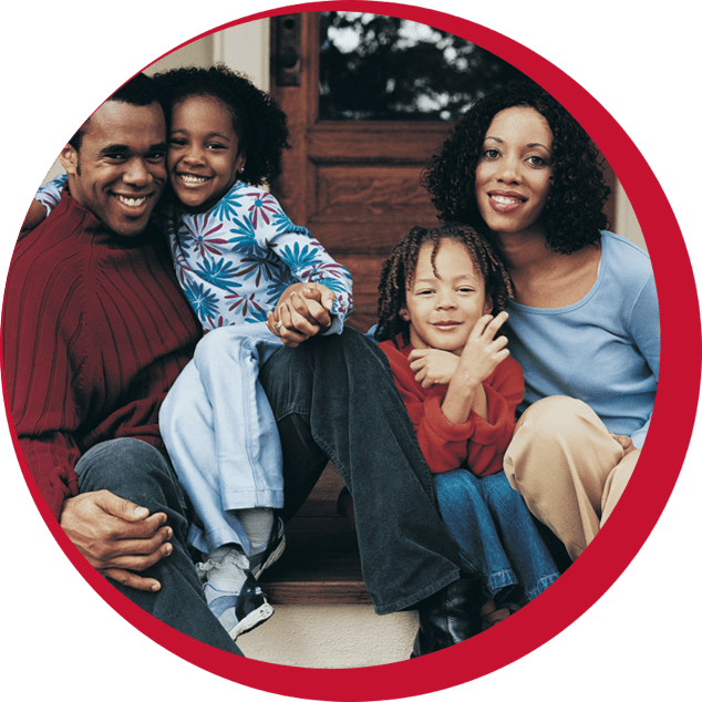 family-on-steps